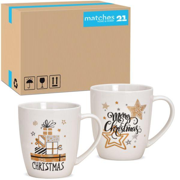 Tassen Kaffeebecher Merry Christmas weiß gold Porzellan 36 Stk sort 300 ml 10 cm