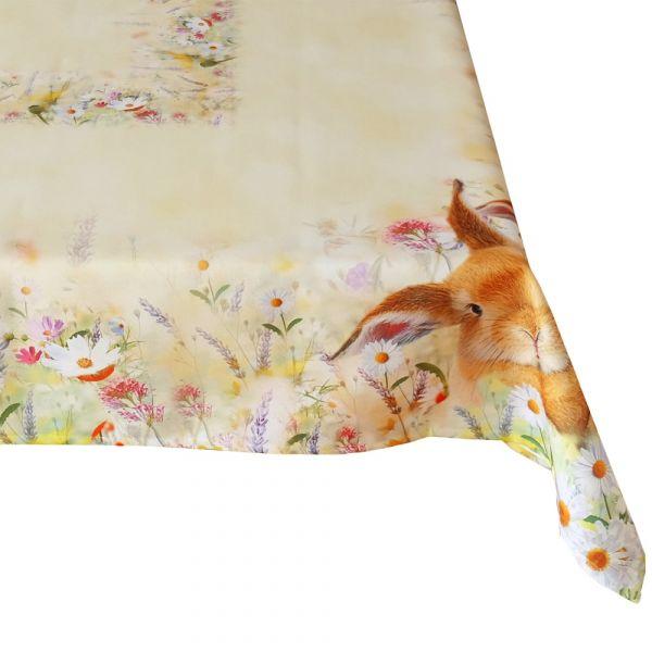 Tischdecke Tischtuch Osterhase & Wiese Ostern Frühling gelb Druck bunt 130x170 cm