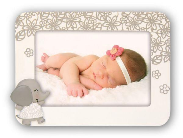 Bilderrahmen Baby Kind Rahmen Kunststoff creme Elefanten Applikation & Blumendesign