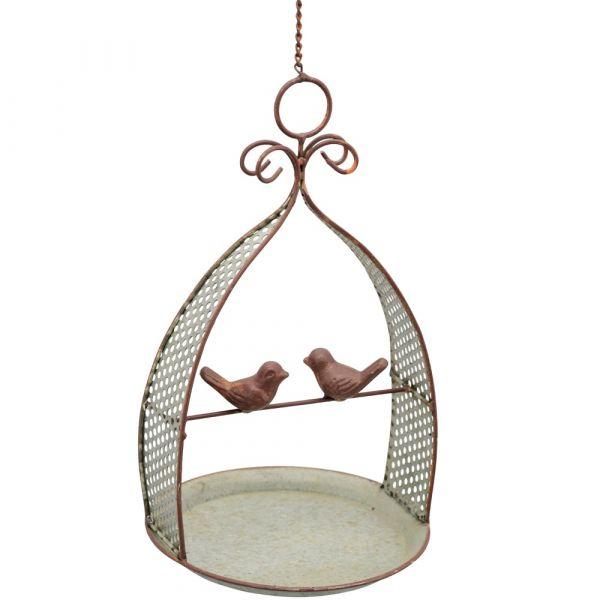 Futterstelle mit Vogelfiguren Futterplatz zum Hängen Gartendeko Metall 1 Stk Ø 20cm