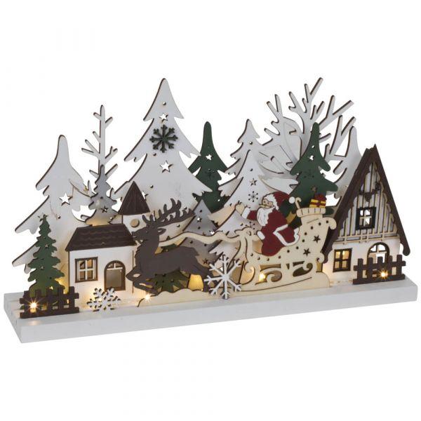 Weihnachtsleuchter Holz LED Fensterleuchter Weihnachtsmann & Schlitten 30 cm