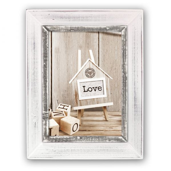 Bilderrahmen Fotorahmen Wechselrahmen Holz weiß graue Innenkante Shabby 10x15 cm