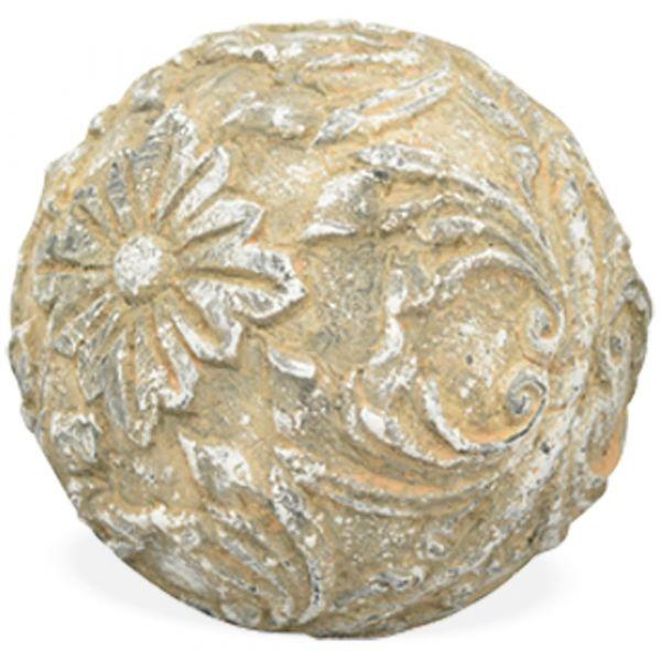 Blumenkugel Polyresin Dekokugel Gartenkugel Ornament Shabby Antik 1 Stk - Ø 12 cm