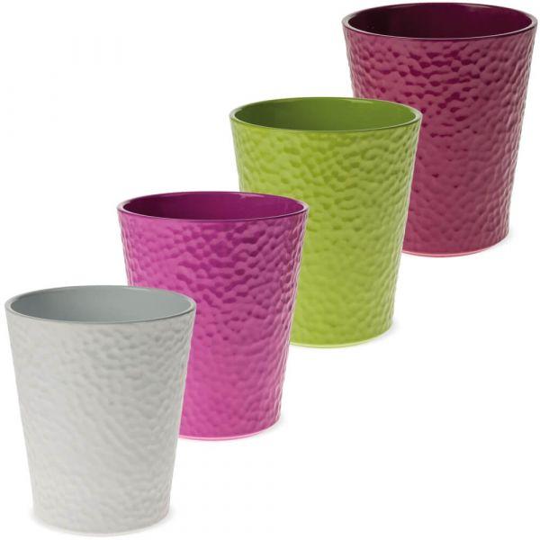 Pflanztöpfe Keramik Blumentöpfe Hammerschlagoptik 1 Stk Ø 13 cm – 4 Farben