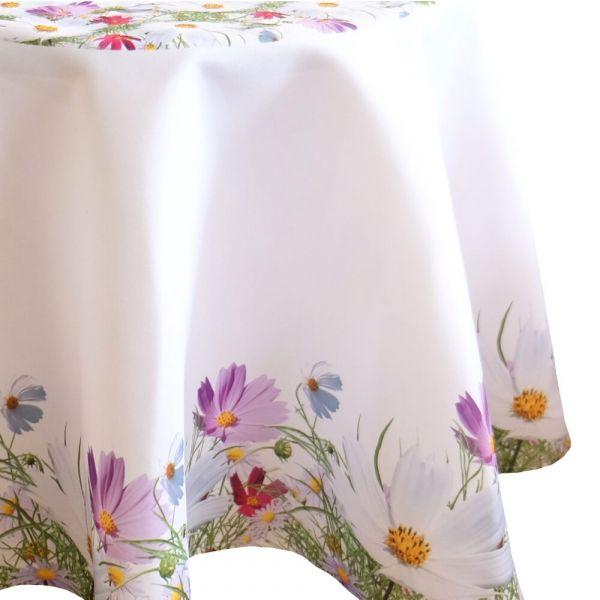 Tischdecke Tischtuch Blumenwiese Blumen Frühling weiß Druck bunt Ø 150 cm rund