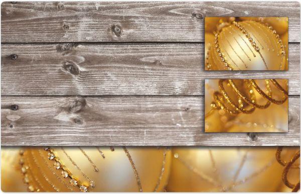 Tischset Platzset MOTIV Weihnachten Deko Kugeln gold & Holz 1 Stk. Abwaschbar
