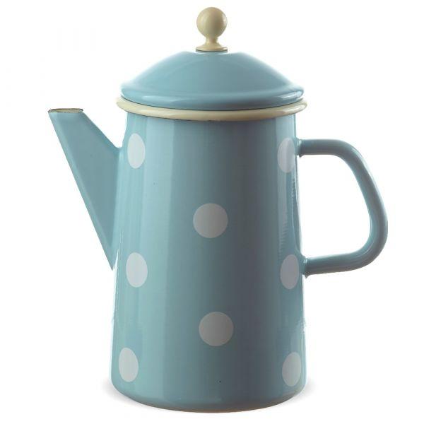 Große Email Kaffeekanne blau gepunktet Emaille Kanne 23x12 cm / 1600 ml