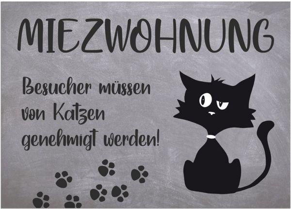 Fußmatte Fußabstreifer DECOR Katze Comic Miezwohnung Spruch grau waschbar 50x70