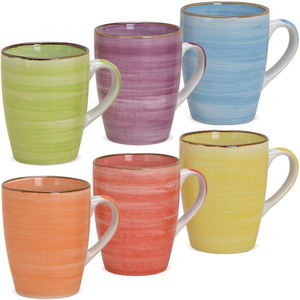 Kaffeetassen Steingut Landhausstil farbenfroher Mix 6er Set sort 10 cm 340 ml