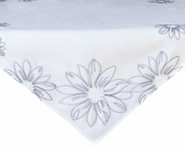 Tischdecke Tischwäsche Mitteldecke große Blumen gestickt weiß / grau 85x85 cm