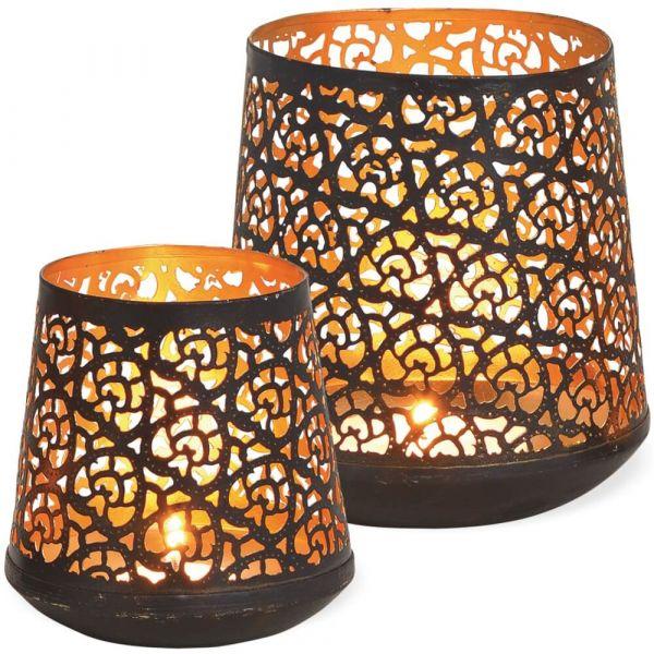 Windlichter Kerzenhalter konisch mit Orient Lochmuster – schwarz gold - 2er Set