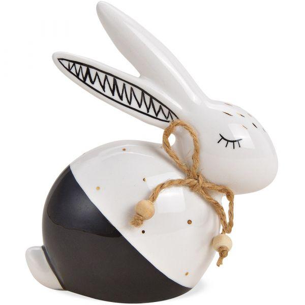 Osterhase Figur Hase weiß schwarz mit Schleife Osterdeko Keramik Deko 10x12 cm