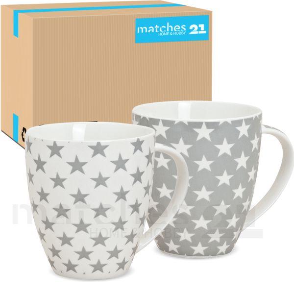 Jumbo Becher Tassen Sterne grau weiß 24 Stk. Karton Porzellan 12 cm / 600 ml