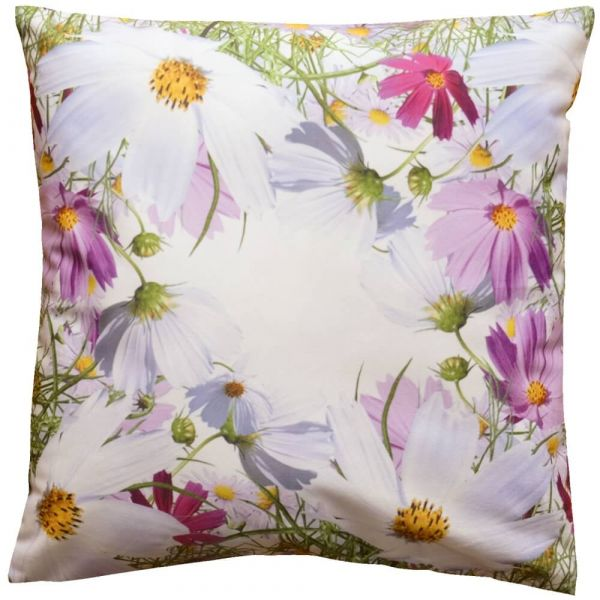 Kissenhülle Kissen Blumenwiese Blumen Frühling weiß Druck bunt 40x40 cm