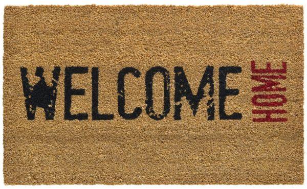Fußmatte Kokosmatte Indoor Aufdruck Welcome Home schwarz rot 1 Stk - 45x75 cm
