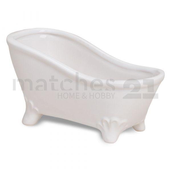 Badewanne Deko Schale Seifenschale weiß Keramik 1 Stk. 16x7x9 cm