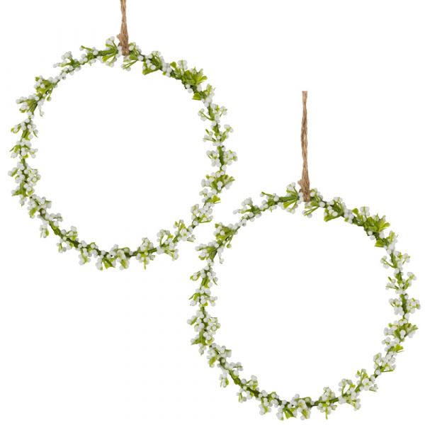 Blumenringe Schleierkraut Reif 2 Stk. Dekokränze weiß / grün Ø 11 cm