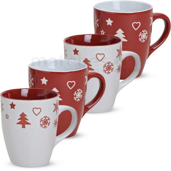 Tassen Becher Kaffeebecher 1 Stk. Weihnachtsdekor rot weiß B-WARE Keramik 300 ml