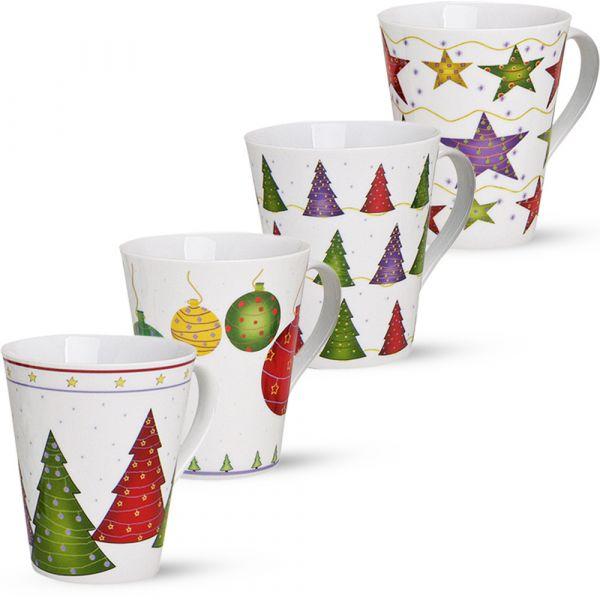 Weihnachtstassen 4er Set Weihnachtsmotiv Tassen Becher Porzellan je 11cm / 350 ml