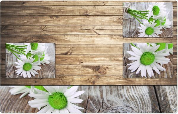 Tischset Platzset MOTIV Margeriten Blüten & Holzbrett 1 Stk abwaschbar