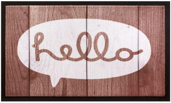 Fußmatte Fußabstreifer Decor & Rand Hello Sprechblase Holz waschbar 45x75 cm