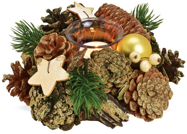 Gesteck Advent Weihnachten dekoriert mit Zapfen grün gold & Teelichtglas 20 cm
