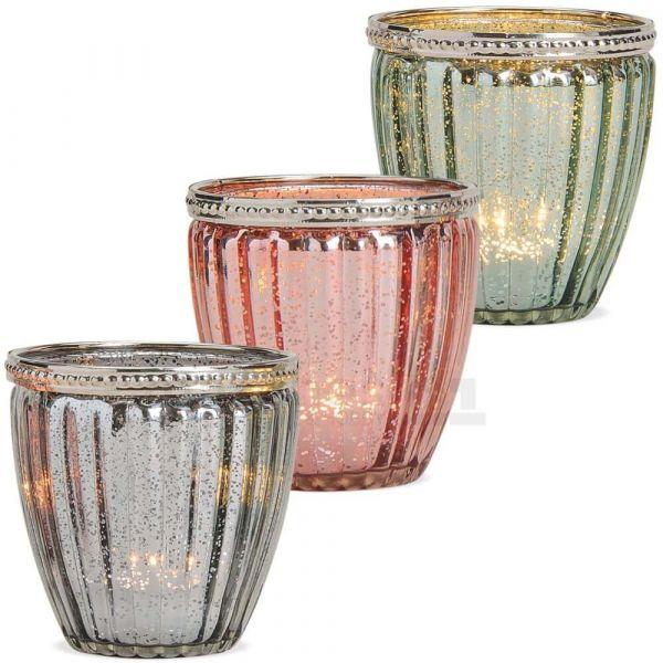 Windlichter Teelichtgläser Orient Glas & Metall 3er Set pink grau grün mittel 8 cm