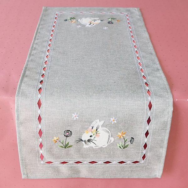 Tischläufer Mitteldecke Osterhasen Ostern Frühling grau Stick bunt 30x70 cm