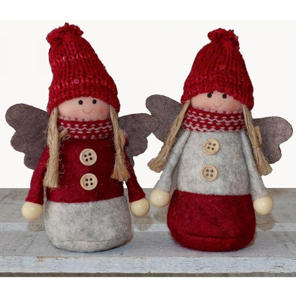 Engel Engelchen Weihnachtsengel Dekofiguren Weihnachten 2er Set grau rot 13 cm