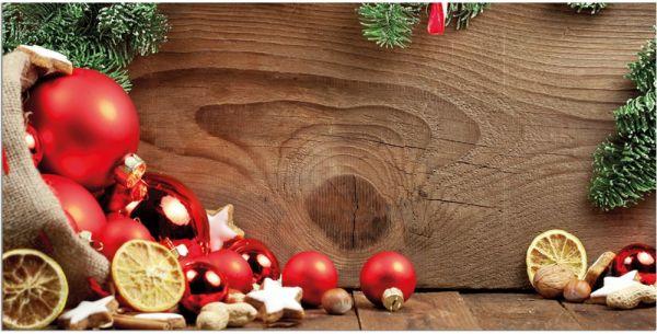 Teppichläufer Küchenläufer Teppich Weihnachten Deko & Holz waschbar in 60x120 cm