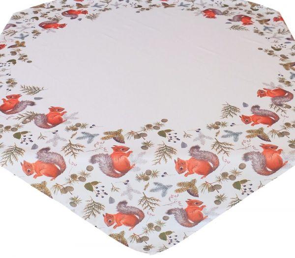 Tischdecke Mitteldecke Herbst Eichhörnchen weiß & Druck bunt 110x110 cm