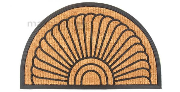 Fußmatte Fußabstreifer Kokos Muschel Gummirand 45x75x2,0 cm aufstehend