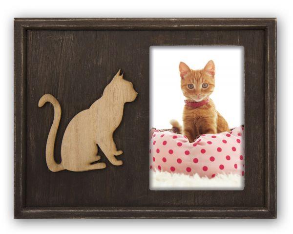 Bilderrahmen Wechselrahmen Porträtrahmen Fotos & Bilder Holz braun & natur Katze