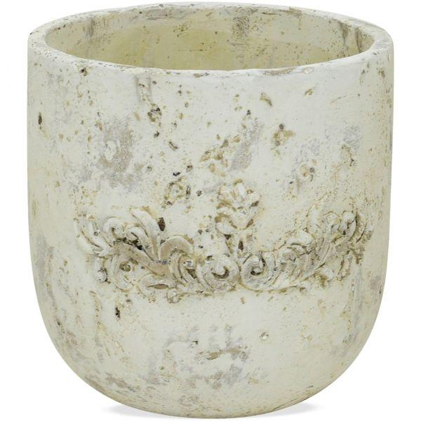 Pflanztopf Antik-Optik Pflanzgefäß Zement cremefarben / grau Ø15x15 cm
