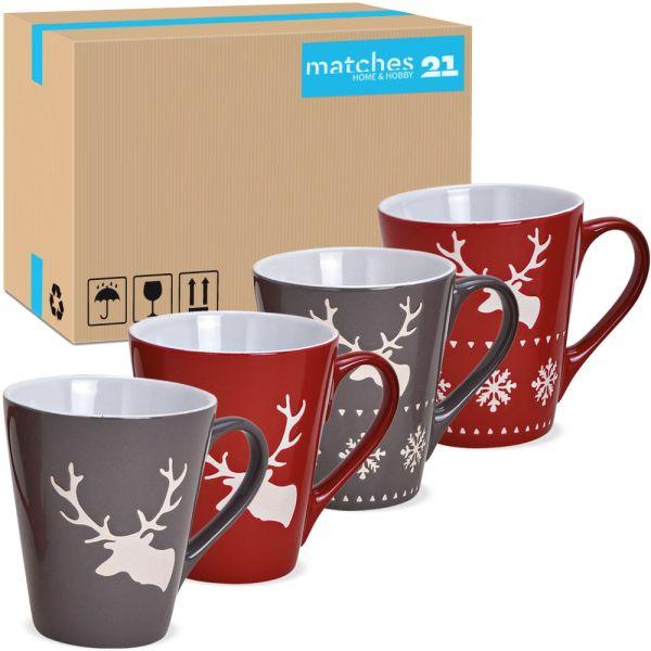 Tassen Kaffeebecher Weihnachten Hirsche rot & grau Steingut 36 Stk sort 200 ml