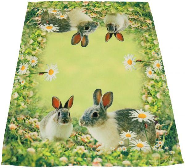 Tischläufer Mitteldecke Hasen & Wiese Ostern Fotodruck bunt Tischwäsche 35x50 cm