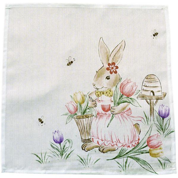 Mitteldecke Tischwäsche Osterhase Mädchen Ostern Frühling weiß Druck bunt 30x30 cm