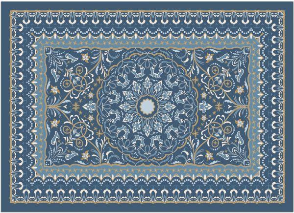 Fußmatte Fußabstreifer DECOR Perser Ornamente blau orientalisch waschbar 50x70cm