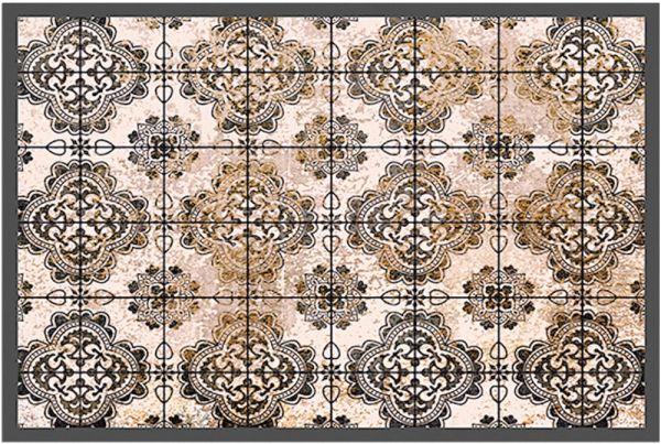 Fußmatte Fußabstreifer DECOR Fliesen Antik Style Vintage braun waschbar 40x60 cm