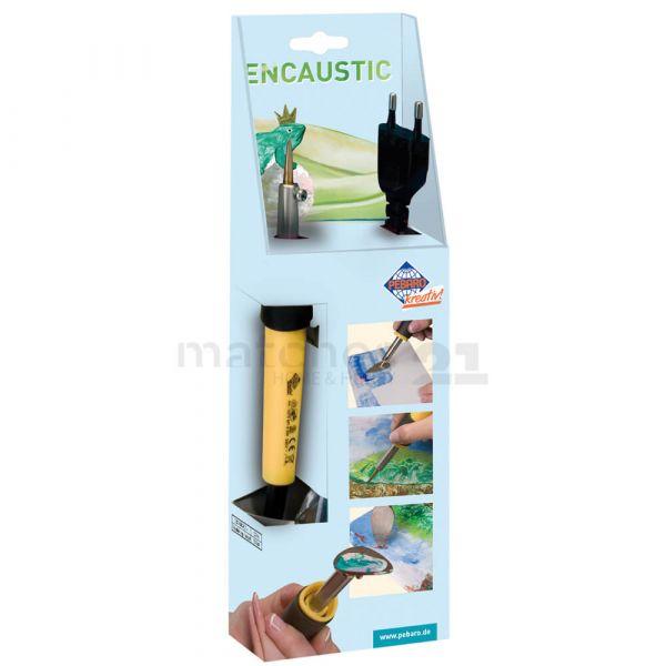 Wachsmalerei Encaustic Bastelset – Stift / Pen inkl. Auflageböckchen & 3 Aufsätzen