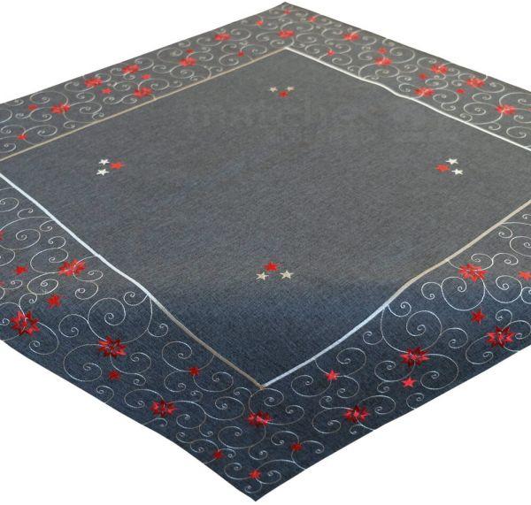 Tischdecke Sterne & Schnörkel Weihnachten dunkelgrau Stick weiß / rot 85x85 cm