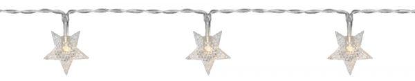 LED Minilichterkette Sterne transparent / warmweiß 90 cm batteriebetrieben