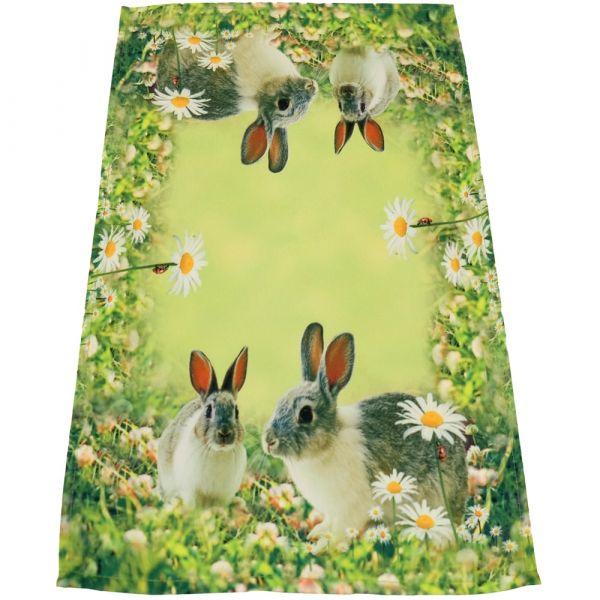 Tischläufer Mitteldecke Hasen & Wiese Ostern Fotodruck bunt Tischwäsche 30x70 cm