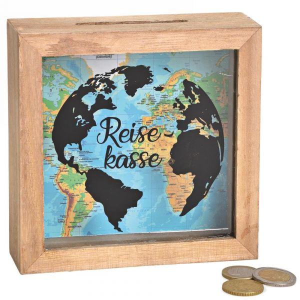 Spardose Geld Rahmen Holz Einwurfschlitz Geldgeschenk – Reisekasse – 15x15cm