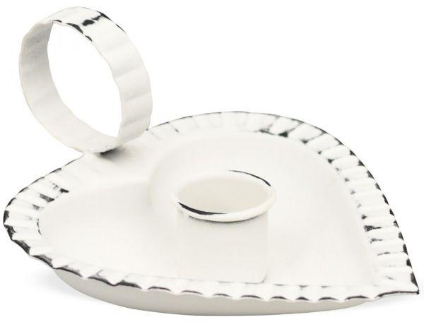 Kerzenhalter mit Henkel Kerzenleuchter geriffelt Herzform Metall weiß - 13x10 cm
