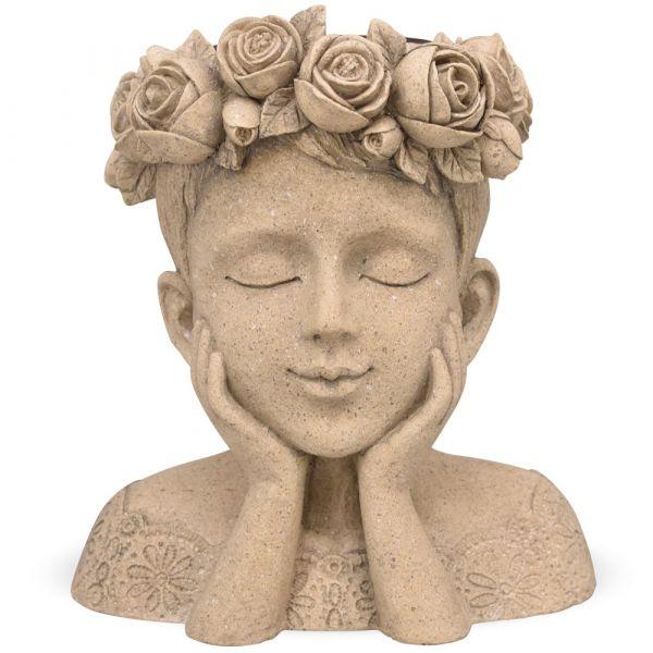 Mädchen Büste mit Rosenkranz Pflanztopf Pflanzgefäß Poly creme 1 Stk 25,1x28,7 cm
