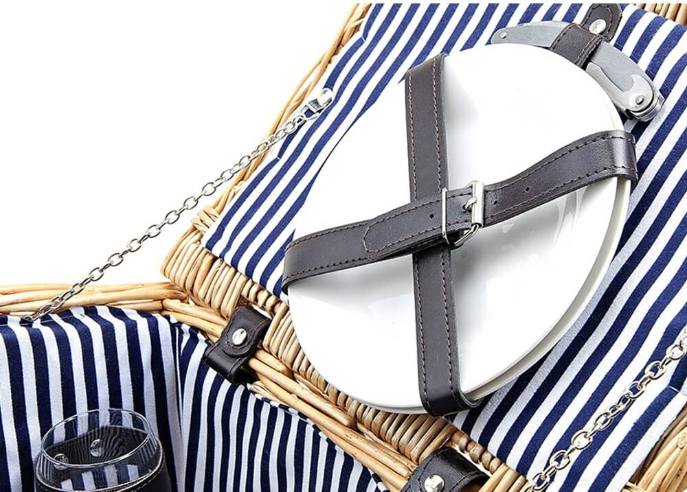 Picknickkorb 4 Personen Weidenkorb blau 14-tlg inkl Geschirr /& Picknickdecke