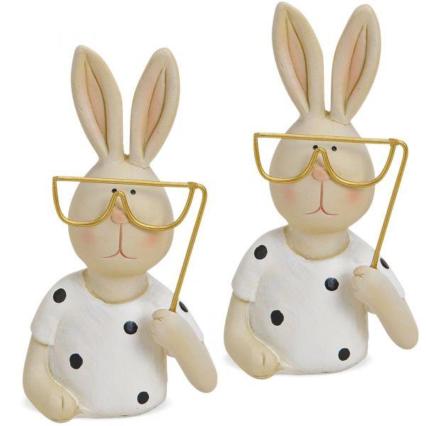 Hasenpaar mit Brille Osterdeko Dekofiguren Kunststoff & Metall 2er Set je 11 cm