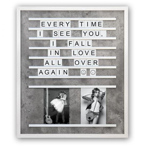 Bilderrahmen Buchstaben Letterboard Fotorahmen Holz weiß Betonoptik 45,5x53,5 cm